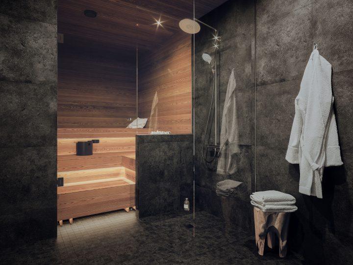 Kylpyhuone asunnoissa A1, B3 ja C5   Sisustusteema: Hiili   taiteilijan näkemys