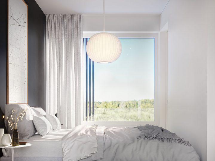 Makuuhuone asunnosta A1, B3 ja C5 | Sisustusteema: Hiili | taiteilijan näkemys
