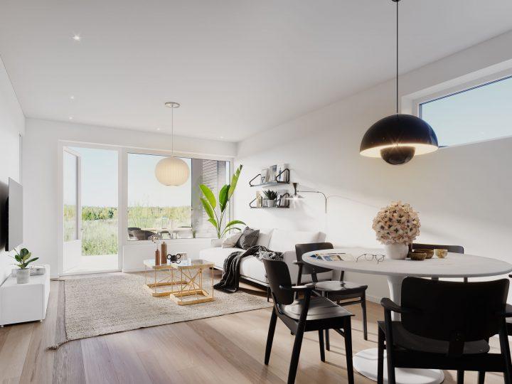 Olohuone asunnoissa B3 ja C5 | Sisustusteema: Hiili | taiteilijan näkemys