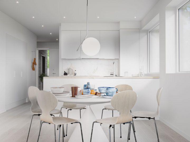 Keittiö asunnosta C6   Sisustusteema: Kalkki   taiteilijan näkemys