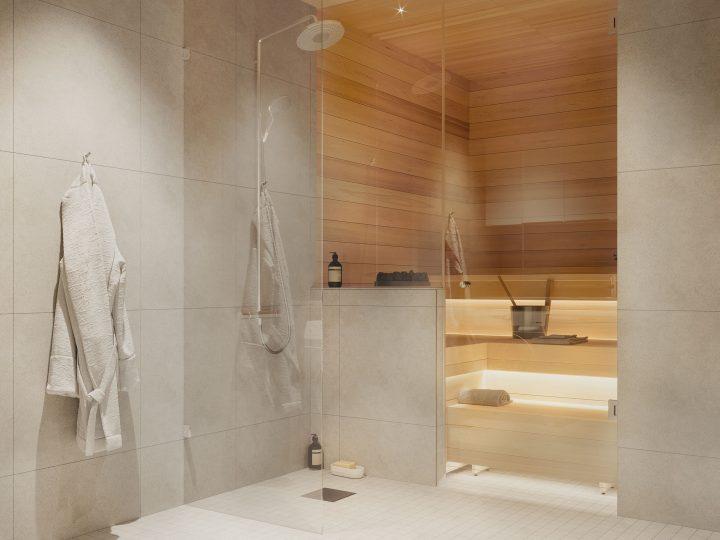 Kylpyhuone asunnoissa A2, B4 ja C6   Sisustusteema: Kalkki   taiteilijan näkemys