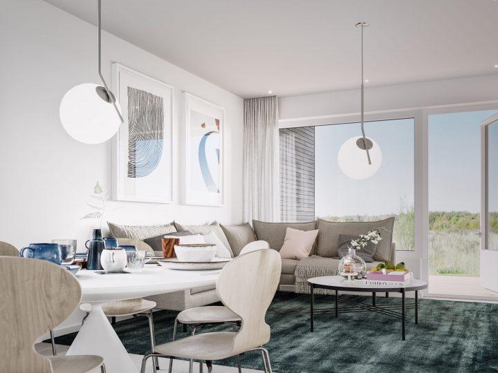 Olohuone asunnosta C6 | Sisustusteema: Kalkki | taiteilijan näkemys