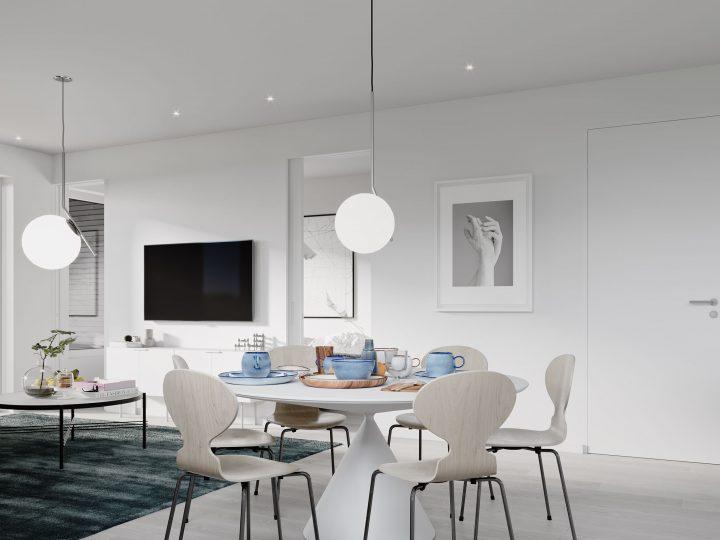Ruokailutila ja olohuone asunnosta C6   Sisustusteema: Kalkki   taiteilijan näkemys